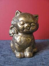 Vintage Antique Hubley Cat Bow Still Bank Foundry Brass Cast Iron Metal