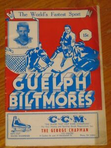 1950's GUELPH BITMORES hockey program - PLAYER PROFILES - ROD GILBERT included