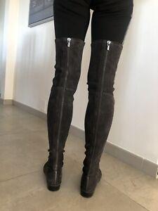 STUART WEITZMAN Grey Suede Elasticated Over Knee Boots with Zip 41 UK 8 BNWT