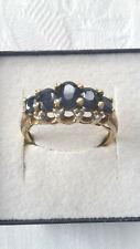 Damen Ring in 375er Gelbgold mit Saphiren und Diamanten RG 55