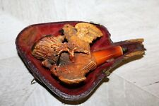 antique Meerschaum pipe Hummingbird Carving Missing Mouthpiece In Case