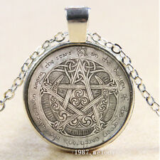 New Cabochon Glass Silver/Bronze/Black chain Pendant Necklace(celtic pentacle)
