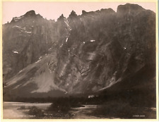 Knudsen. Norvège, Parti Fra Geirangfjord, Sondmore Vintage albumen print.  Tir