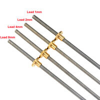 8mm 3D printer T8 Pitch 1mm Lead 1mm Length 300mm Rod Stainless Lead Screw + nut
