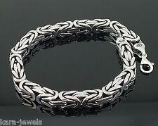 Silver Mens Bracelet Cubic Bali Byzantine Kings Chain 925 Sterling  7 mm -55 gr