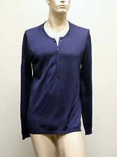 $695 NEW Authentic GUCCI Buttoned Mens Silk Sweater Top 3XL Navy 260483 4440