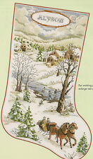"Horse Drawn Sleigh ""Winter Scene"" Stocking Counted Cross Stitch Pattern"