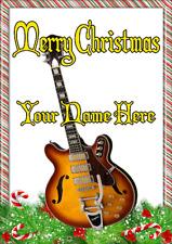 Semi Acoustic Guitar ptcc10  xmas Christmas A5 Personalised Greeting card