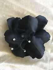 Handmade Dyed Pressed Silk Lily Flower Pin Brooch Crystal Center Hat Trim BLACK