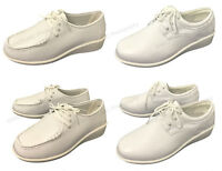 Women's Comfort Shoes Leather Lined Lace up Wide Width Medical Work Nurse Oxford