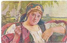 POSTCARD Poland painting Wodzinowski fine art Krakow woman ethnic folk costume