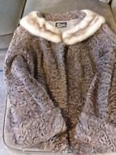 Women's Vintage Brown Persian Lamb Fur Coat with Mink Fur Collar