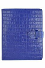 NEW iPAD 2, 3 & 4 COVER BLUE CROC PRINT LEATHER LUXURY SMART SCREEN CASE STAND