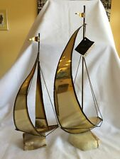 2 Vintage Brass Sailboats Mid Century Modern Mario Jason Nautical Onyx Stone