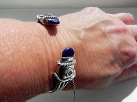 L💗VELY 46g sterling silver 925 Mexico artisan lapis lazuli cuff bangle bracelet