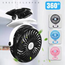 360° Portable Travel Fan Rechargeable USB Clip On Mini Desk Pram Cot Car hot