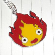 Kitsch Kawaii Super Tv anime Flame enamel charm necklace new