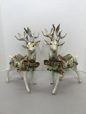 Fitz And Floyd Florentine Christmas White Stag Deer Pair 19/517