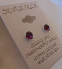 HYPOALLERGENIC Post Earrings Swarovski Elements February Birthstone Amethyst