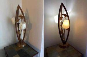 danish Teak Wood Mid Century Tulip Table lamp.