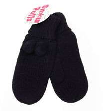Girls Snow Puffs Black Acrylic Knit Mittens Size 4-6x New w/ Tags