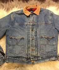 POLO Denim Jacket M Mens Ralph Lauren WESTERN COWBOY Vtg Jean Jacket Wool Lined