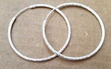 Bling Textured Sterling Silver Hoop Endless Round Earrings 2 in- US style hook