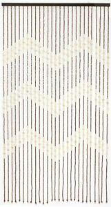 Zig Zag Brown & Cream 180 x 90cm Wooden Beaded Bamboo Door Curtain Summer Blind