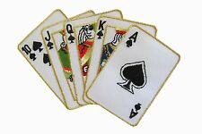 #3621 Royal Flush Poker Card Hand Gambling Embroidery Iron On Applique Patch