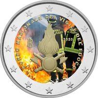 2 Euro Gedenkmünze Italien 2020 coloriert  mit Farbe / Farbmünze Feuerwehr 2