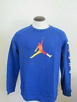 Nike Mens Jordan DNA HBR Fleece Crew Pullover Sweatshirt Blue Size Large NWT