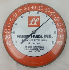 FARM FANS INC Plastic Face Ohio Thermometer Co Baraboo WI Therm Sign Vintage USA
