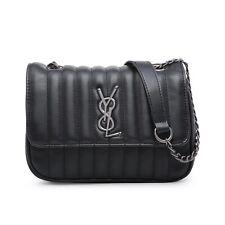 Woman Stylish Quilted  Handbag Messenger Cross Body Shoulder Bag BLACK
