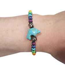 Dolphin Bracelet Rainbow Beads Wristband Bangle Mens Womens Boys Girls Jewellery