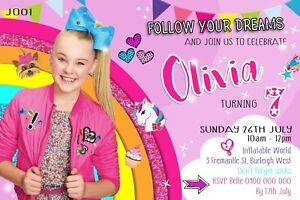 JoJo Siwa Personalised Invitations Invite Birthday Party Supplies Bow Rainbow
