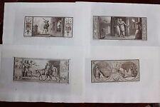 ✒ 1802 Ch PERCIER Fables LA FONTAINE - 12 gravures SUITE sur CHINE bistre