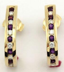 14k yellow gold round diamond amethyst 0.72ctw half-hoop huggie earrings estate