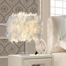 Feather Shade Table Lamp Metal Vintage Elegant Bedside Desk Night Light Decor