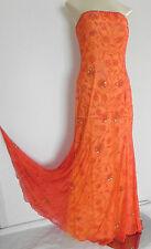 Cache Formal Dress Size S 100% Silk Chiffon Sequin Bead Orange  Strapless