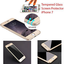 For Apple iPhone 7 3D Curved Carbon Fibre Tempered Glass Screen Protector Gold