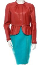 Burberry Prorsum Orange Leather Jacket w/ Turquoise Suede Skirt Suit NWT