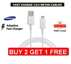 Genuine Samsung Fast Charger Micro 1M 2M 3M USB Data Cable Lead For S4 S5 S6 S7