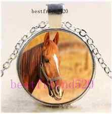 Horse Photo Cabochon Glass Tibet Silver Chain Pendant Necklace