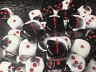 Red Sword On Black & White Colored Six Sided 16mm D6 Die - Customized Dice