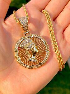 Men's Women 14k Gold Filled Ice Nefertiti Charm Pendant Rope Necklace