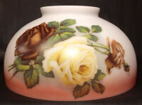 "NEW 14"" Dome Lamp Shade, Hand Blown English Roses, Table & Library Lamp #DS033"