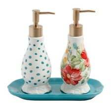 Pioneer Woman Vintage Floral Soap Lotion Dispenser and Tray Bath Stoneware