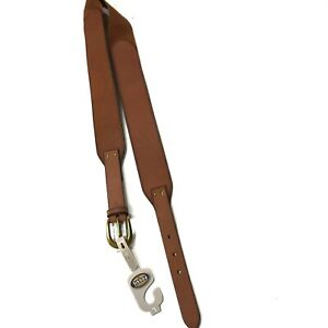 new FOSSIL Belt L Large Brown Genuine Leather Elastic Back nwt