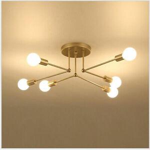 Modern Brass 6 Heads Chandelier Pendant Lighting Ceiling Lights Study Room Lamp