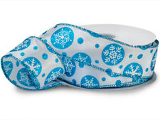 Christmas White Wired Ribbon Blue Glitter Snowflakes Frozen Winter New Years Eve